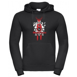 Hoodie black, Black Forest white Clock
