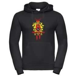 Hoodie black, Black Forest yellow Clock