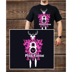 T-Shirt noir, Pink Forest