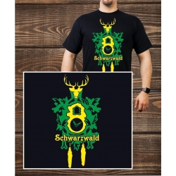 T-Shirt black, black forest with Clock
