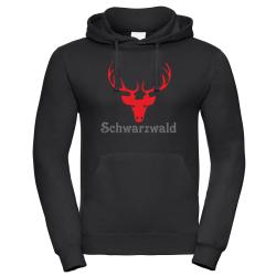 Hoodie black, Schwarzwald mit Hirschgeweih