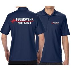 Funktions-Polo navy, FEUERWEHR - NOTARZT mit roter EKG-Linie
