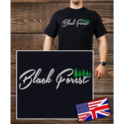 T-Shirt black, Black Forest with trees