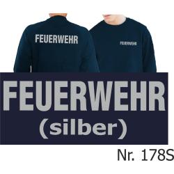 Sweat navy, FEUERWEHR in silber (XS-3XL)