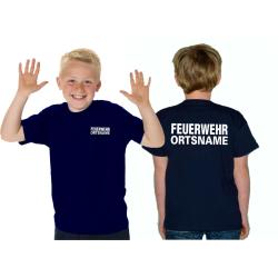 Kinder-T-Shirt navy, FEUERWEHR mit Ortsname weiss Schrift...