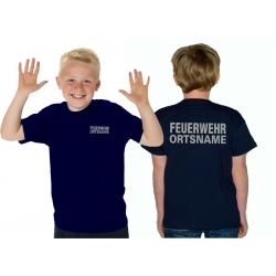 Kinder-T-Shirt navy, FEUERWEHR mit Ortsname silber...