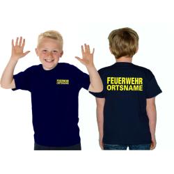 Kinder-T-Shirt navy, FEUERWEHR mit Ortsname neongelb...