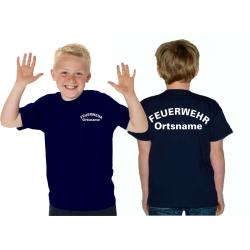 Kinder-T-Shirt navy, FEUERWEHR mit Ortsname gebogene...