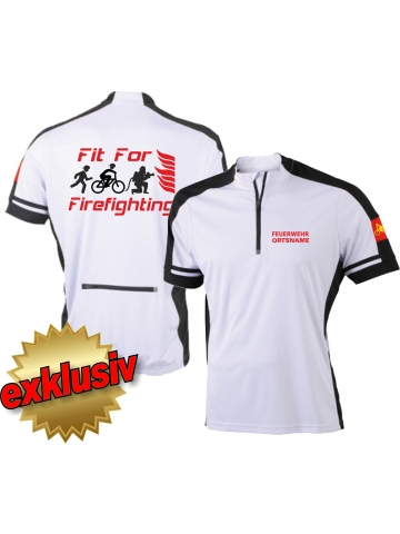 Bike-Shirt white, 1/2 Zip, atmungsaktiv, FEUERWEHR + Ortsname, FitForFirefighting + Runner+Biker+Firefighter