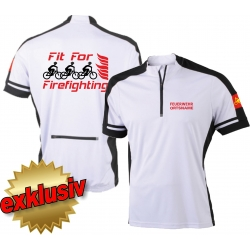 Bike-Shirt white, 1/2 Zip, breathable, FEUERWEHR +...