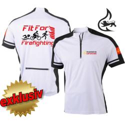 Bike-Shirt white, 1/2 Zip, breathable, Stauferlöwe +...