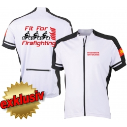 Bike-Shirt white, full-Zip, breathable, FEUERWEHR +...