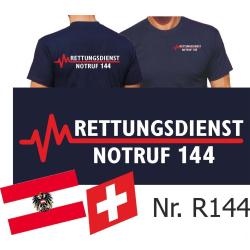 T-Shirt azul marino, RETTUNGSDIENST NOTRUF 144...