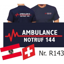 T-Shirt azul marino, AMBULANCE NOTRUF 144...