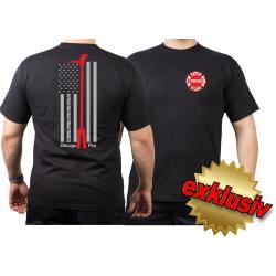 CHICAGO FIRE Dept. flag + Halligan Tool, black T-Shirt