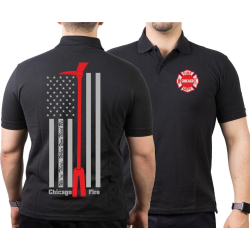 CHICAGO FIRE Dept. flag Halligan Tool, black Polo