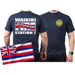 T-Shirt navy, WAIKIKI  FIRE - Station 7, Honolulu.(Hawaii)