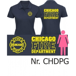 Women Polo navy, CHICAGO FIRE Dept. font: yellow