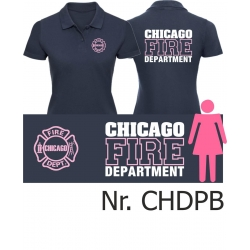 Women Polo navy, CHICAGO FIRE Dept. font: rosa/white