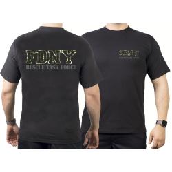 T-Shirt black, New York City Fire Dept. Rescue Task Force...