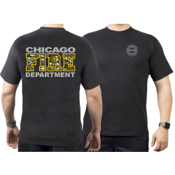 CHICAGO FIRE Dept. camouflage & yellow, black T-Shirt