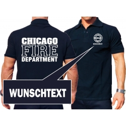 CHICAGO FIRE Dept. with Wunschname, navy Polo