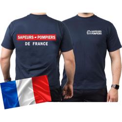 T-Shirt navy, Sapeurs Pompiers de France - rouge/blanc