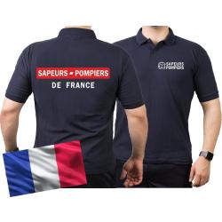 Polo blu navy/bleu marine, Sapeurs Pompiers de France -...