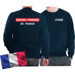 Sweat navy, Sapeurs Pompiers de France - rouge/blanc