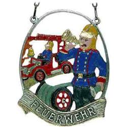 Zinnornamet Feuerwehrmann, 11 cm
