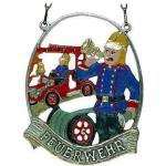 Zinnornament Feuerwehrmann, 11 cm