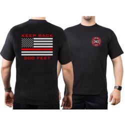 "T-Shirt negro, ""KEEP BACK 200 FEET / 343"" flag,..."