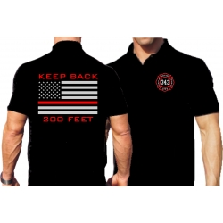 """Polo negro, """"KEEP BACK 200 FEET"""" flag, silver/red"""