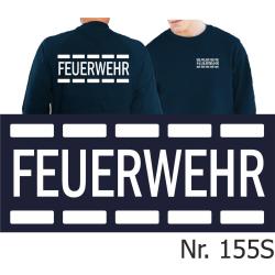 Sweat navy, FEUERWEHR im Polizeidesign in weiß...