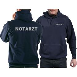 Hoodie navy, NOTARZT in silber