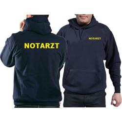 Hoodie navy, NOTARZT in neongelb