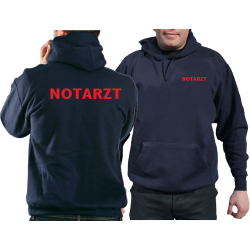 Hoodie navy, NOTARZT in rot
