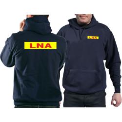 Hoodie navy, LNA rot neongelb