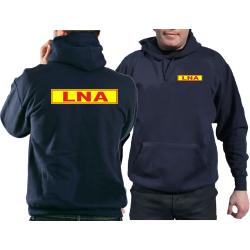 Hoodie navy, LNA rot mit Rand auf neongelb