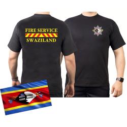 T-Shirt black FIRE SERVICE SWAZILAND