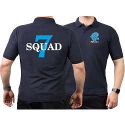 CHICAGO FIRE Dept. Squad 7, blue, old emblem, navy Polo