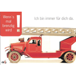 Glückwunschkarte avec FW-Auto (...brenzlig...)