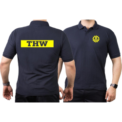 Polo navy, THW (Negativfont) with Zahnrad neonyellow
