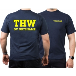 T-Shirt navy, THW with OV-name (Positivfont) neonyellow