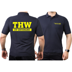 Polo navy, THW with OV-name (Negativfont) neonyellow
