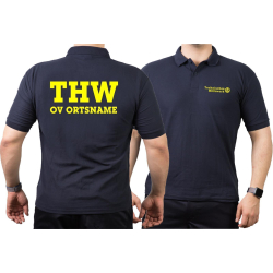 Polo navy, THW with OV-name (Positivfont) neonyellow