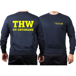 Sweat navy THW with OV-Name (Positivfont) neonyellow