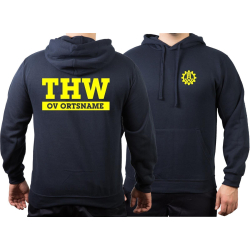 Hoodie navy, THW with OV-Name (Negativfont) neonyellow