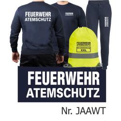 Sweat-Tenue de jogging marin, FEUERWEHR ATEMSCHUTZ blanc...