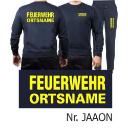 Sweat-Jogging suit navy, FEUERWEHR place-name neonyellow